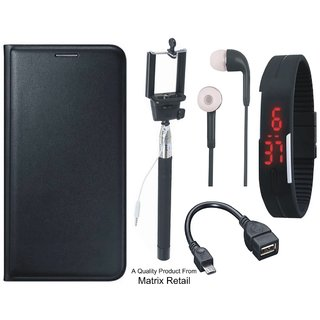 Leather Flip Cover for Coolpad Note 3 with Free Selfie Stick, Digtal Watch, Earphones and OTG Cable