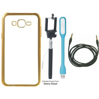 Chrome Tpu Back Cover for  J5 2016 ( J5-6 ) with Golden Electroplated Edges with Free Selfie Stick  LED Light and AUX Cable