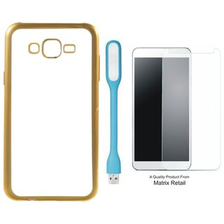 Chrome Tpu Back Cover for Oppo Neo 7 with Golden Electroplated Edges with Free Tempered Glas and  LED Light