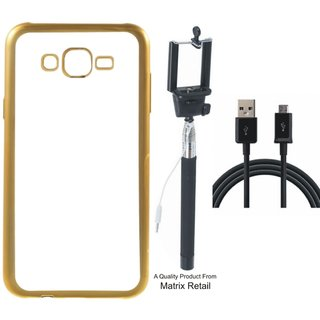 Chrome Tpu Back Cover for Moto E3 with Golden Electroplated Edges with Free Selfie Stick and  Cable