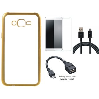 Chrome Tpu Back Cover for Lenovo K5 ( 5.5 Inch ) with Golden Electroplated Edges with Free Tempered Glass, OTG Cable and USB Cable
