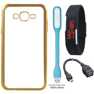 Chrome Tpu Back Cover for   5S with Golden Electroplated Edges with Free Digital Watch OTG Cable and  LED Light