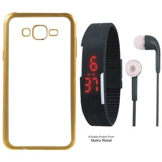 Chrome Tpu Back Cover for Oppo Neo 7 with Golden Electroplated Edges with Free Digital Watch and Earphones