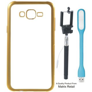 Chrome Tpu Back Cover for Oppo Neo 7 with Golden Electroplated Edges with Free Selfie Stick and  LED Light