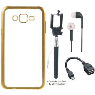 Chrome Tpu Back Cover for Lenovo K3 Note with Golden Electroplated Edges with Free Selfie Stick s and OTG Cable