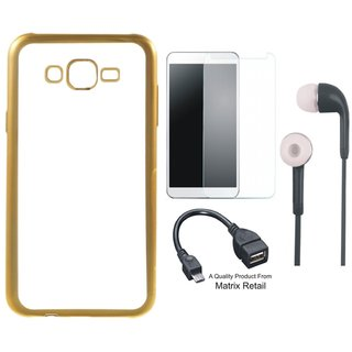 Chrome Tpu Back Cover for  J5 Prime SM-G570F with Golden Electroplated Edges with Tempered Glass s and OTG Cable