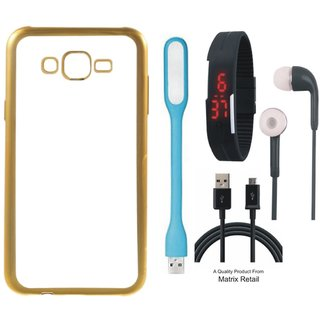 Chrome Tpu Back Cover for Mola G Play 4th Gen with Golden Electroplated Edges with Free Digital Watch s  LED Light and  Cable