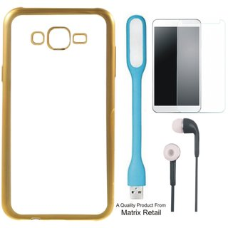 Chrome Tpu Back Cover for Vivo Y51 / Vivo Y51L ith Golden Ectroplated Edges ith Free  Glass, Earphes and  D Light