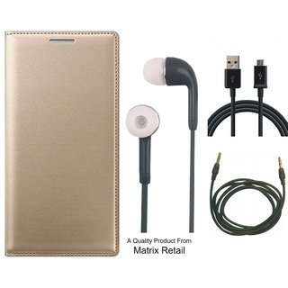 Oppo A57 Leather Finish Flip Cover with Free Earphones, USB Cable and AUX Cable by