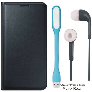 Zenfone 2 Laser ZE500KL Leather Finish Flip Cover with Free s and  LED Light by