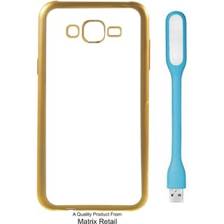 Chrome Tpu Back Cover for Lenovo K5 ( 5.5 Inch ) with Golden Electroplated Edges with Free  LED Light