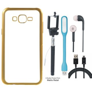 Chrome Tpu Back Cover for   5S with Golden Electroplated Edges with Free Selfie Stick s  LED Light and  Cable