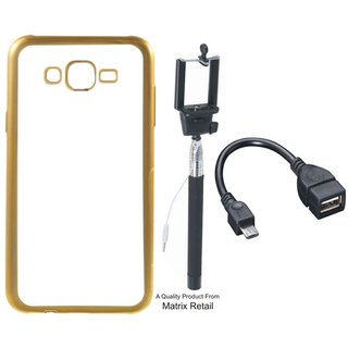 Chrome Tpu Back Cover for Lenovo A6600 with Golden Electroplated Edges with Free Selfie Stick and OTG Cable