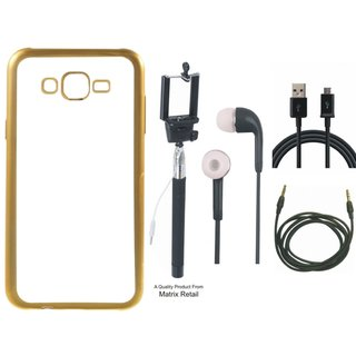 Chrome Tpu Back Cover for Lenovo A6600 with Golden Electroplated Edges with Free Selfie Stick, Earphones, USB Cable and AUX Cable