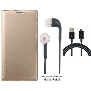 Vivo V3 Leather Finish Flip Cover with Free Earphones and USB Cable by