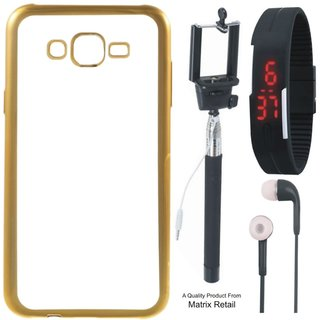 Chrome Tpu Back Cover for Oppo Neo 7 with Golden Electroplated Edges with Free Selfie Stick, Digtal Watch and Earphones