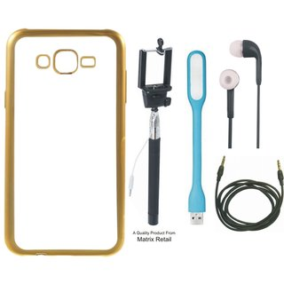 Chrome Tpu Back Cover for Vivo Y21 with Golden Electroplated Edges with Free Selfie Stick s  LED Light and AUX Cable