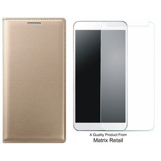 J5 Prime SM-G570F Leather Finish Flip Cover with Free Tempered Glass by