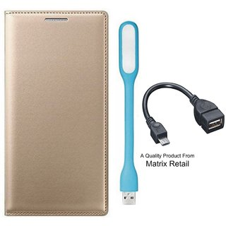 Vivo V5 ather Finish Flip Cover ith Free  D Light and  Cab by