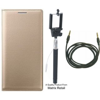 Oppo A57 Leather Finish Flip Cover with Free Selfie Stick and AUX Cable by