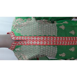 Green long semi-sriched salwar suit and dupatta