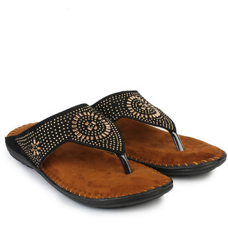 Do Bhai Women's Black Flats - 116750680