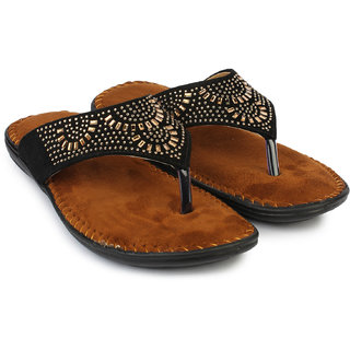 Do Bhai Women's Black Flats