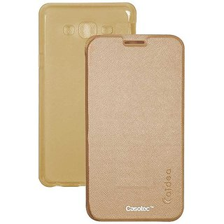Caidea Flip Case Cover With Silicon Tpu Back For Samsung Galaxy J2 - Gold