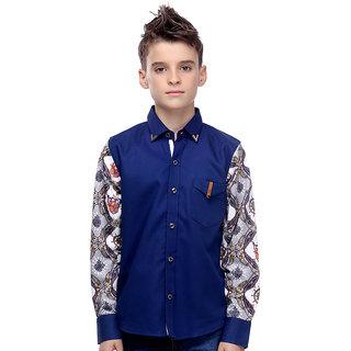 MashUp Designer Blue Printed Sleeve Shirt For Boys.
