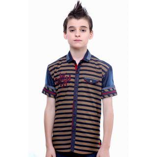 MashUp Denim Love Beige Stripes Shirt