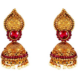Aashish Imitation Gold Plated Pink Jhumki Earring