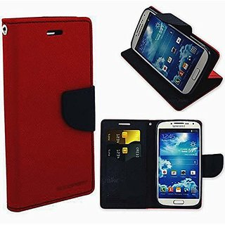 Sony Xperia E4 Flip Cover Mercury Wallet Dairy Case (RED ) By Mobimon