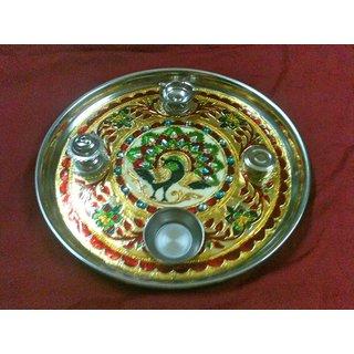 50 DISCOUNT on Designer golden pooja thali from magpie model 5  (Merchant Magpie Design Co.)