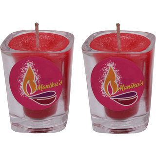 Monodent Simple Shot Glass Candle For Being Elegent Home/Temple (6x5x5 cm) Pack Of 2