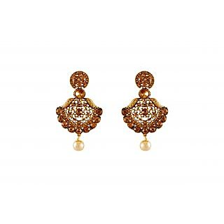 Buy aashish imitation traditional gold plated stylish brown aashish imitation traditional gold plated stylish brown chandelier earring aloadofball Image collections