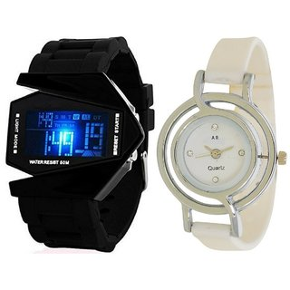 Designer Analog And Digital watch For Men's And Womens combo of 2 different pcs.