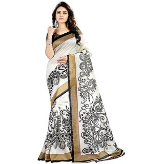 Meia Black  White Floral Bhagalpuri Silk Saree With Blouse