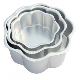 NOOR ALUMINIUM FLOWER SHAPE CAKE MOULDS - SET - 3