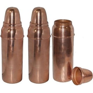 Clickmart Pure Copper Water Bottles 800 ML for Ayurvedic Health Benefits (Set of 3)