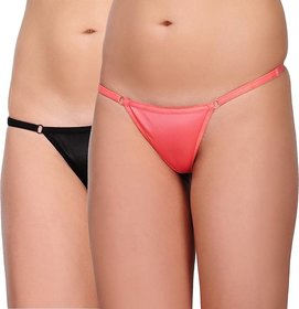 Women'S Thong Pink And Black (Pack of 2)
