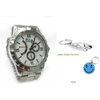 Combo Of Flip Men's Watch+Jaguar Key Chain With Free Smiley Key Chain.