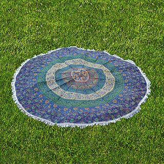 Handicrunch Mandala Wall hanging Home dcor tapestry Handicrunch Ombre Round Mandala Tassel Fringing Yoga Mat