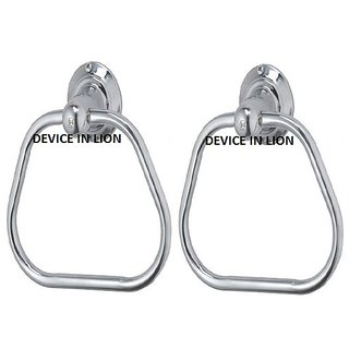 Device In Lion Stainless Steel Light Triangle Shape Towel Ring Set of 2