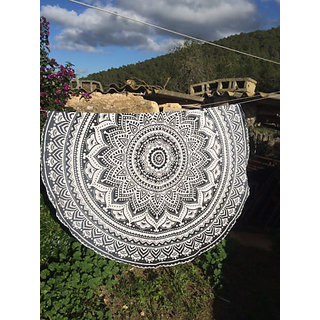 Handicrunch Mandala Wall hanging, Home dcor tapestry, Handicrunch Ombre Round Mandala Tassel Fringing Yoga Mat