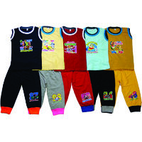 Om Shree Multicolour Kids Cotton CUP pant with SLEEVELESS TEES (Pack of -5)