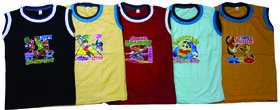 Boys Cotton Sleeveless Cotton T-shirt (Pack of 5)