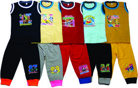 Om Shree Sleeveles Tees with Cotton CUP pant (Pack of 5)