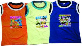 BoysCotton  Sleeveless Cotton T-shirt (Pack of 3)