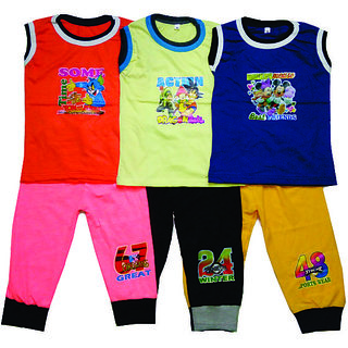 Kids Cotton CUP Pant with SLEEVELESS TEES (Pack of -3)