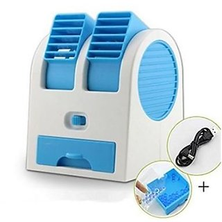 USB Cooler Mini Small Dual Bladeless Portable Adjustable Angles Scented Air USB Cooler (Colors As Per Availability)